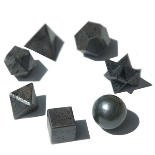 Black Agate Geometric Set - 7 Piece in Gift Pouch