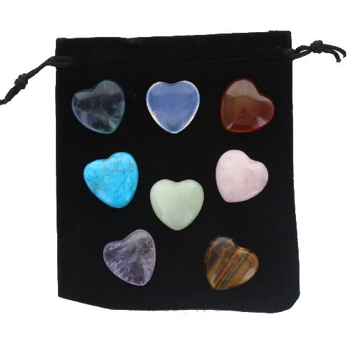 Semi-Precious Heart Stones Gift Set with Drawstring Pouch